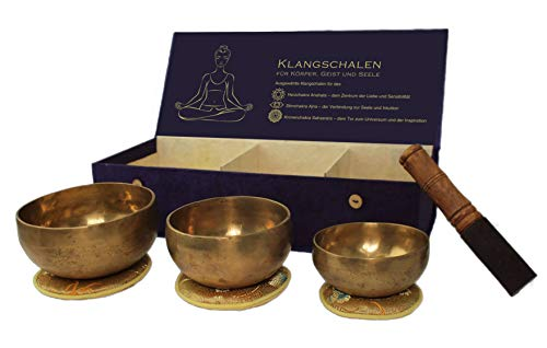 Klangschalen Set in handgefertigter Box aus Lokthapapier in verschiedenen Ausführungen (Körper Geist Seele)