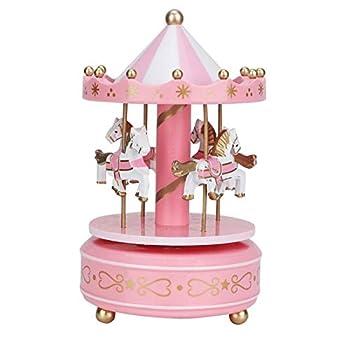Longfeng Carousel Horse Music Box Merry‑Go‑Round Music Box Carousel Gift Christmas Wedding Birthday Gift Decor  Pink
