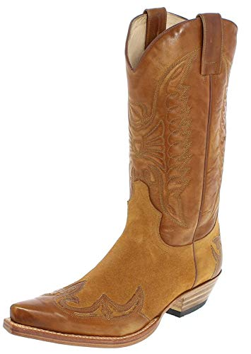 Sendra Boots Damen Herren Cowboy Stiefel 13170 Lederstiefel Braun 44 EU