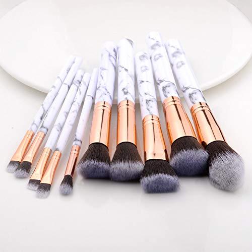 KDBHM Pinceau de Maquillage 10 Pcs / 8 Pcs Maquillage Professionnel Pinceau Ensemble Outils Poudre Fond De Teint Ombre À Paupières Lèvres Eyeliner Blush Marbre Visage Maquillage Pinceaux,10pcs Blanc