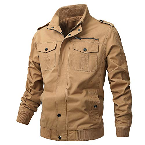 ZooYung Men's Cotton Lightweight Jackets Casual Military Coat Outdoor Windproof Windbreaker(GM-ZY812-Khaki-S)