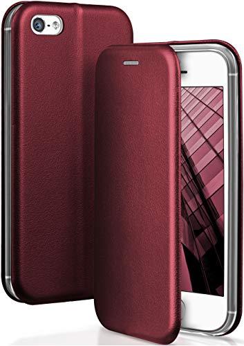 OneFlow Funda Libro + Cierre magnético Compatible con iPhone 5s / 5 / SE (2016) | Piel sintética, Rouge Vin