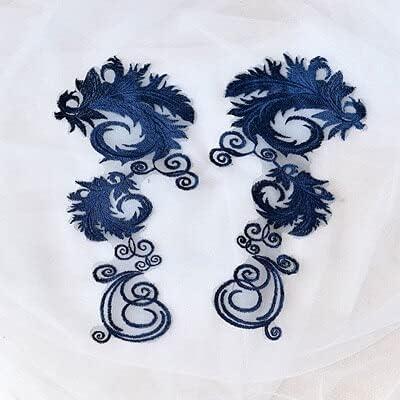 SELCRAFT 10Pcs 30X14cm Red/Black/White/Blue/Pink Delicate Wedding Veil Head Ornaments Lace Applique Lace Trim Dress DIY Lace Accessories - Navy Blue