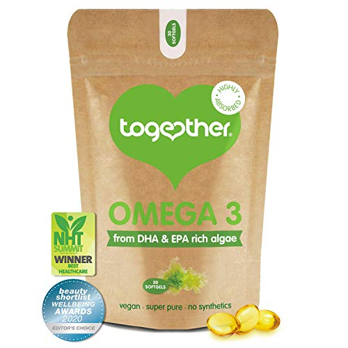 Algae Omega 3 – Together Health – Pure Algae Omega 3 – Unique Plant Source of DHA & EPA – Vegan Friendly - Made in The UK – 30 Softgels