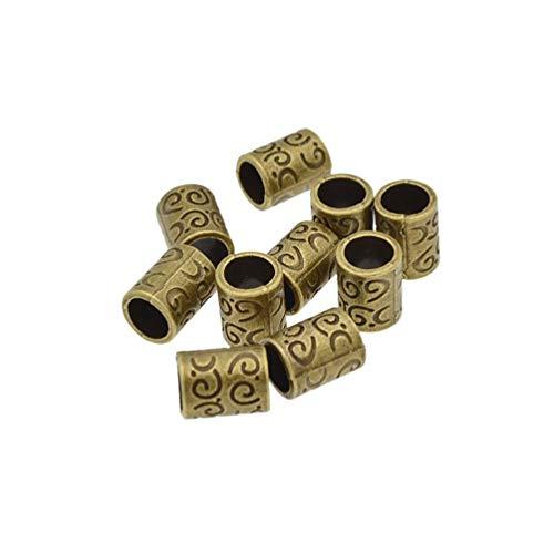 10 piezas Dreadlock perlas forma tubo patrones accesorios peluquería pulsera DIY joyería
