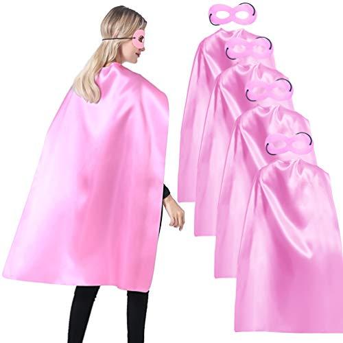 Superhelden-Umhang und Masken für Erwachsene Großpackung für Männer und Frauen – Verkleiden Sie Superhelden-Party-Kostüme für Teambuilding. - Pink -