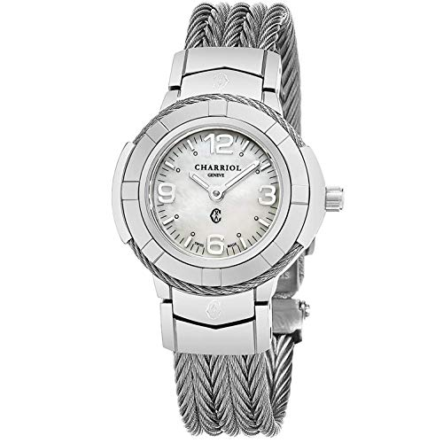 Charriol Womens Celtic 27 MM MOP Dial Stainless Steel Swiss Quartz Watch CE426S.640.001