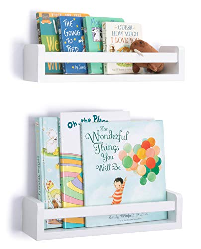 Mighty Walrus-Set of 2 Nursery Wall Shelves with Rails-Premium Baby Room Furniture-Kids Floating Bookshelf-Modern White Shelving for Books and Toys-Nursery Décor Book Shelves-Wall Mounted Bookshelves