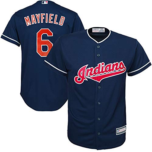 MLB X NFL Official Crossover Youth 8–20 Cool Base White Home Player Replica Jersey, Jungen, Baker Mayfield Cleveland Indians, Large
