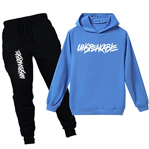 HIhivia Trainingsanzüge für Jungen Mädchen Unspeakable Kapuzenpullover Sweatshirt Jogginghose Set Kinder Sportanzug Jogginganzug/170