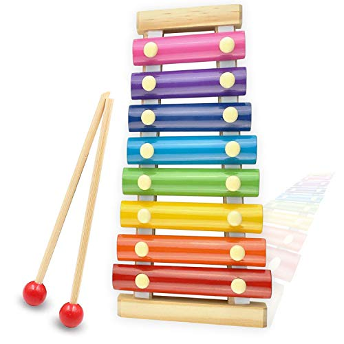Xylophone for kids, Natural Wooden Toddler Glockenspiel Baby Puzzle Musical Toy Octave Xylophone...