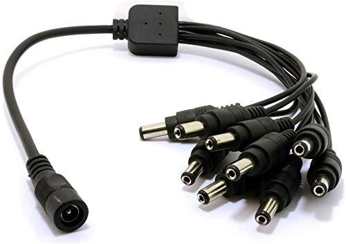 Fuente de alimentacion DC Divisor de 1 a 9 Clavijas Y Conector 2.1mm Cable Adaptador Compatible con JOOAN, PECHAM, TMEZON HD, ZOSI HD, JENNOV HD, EWETON, SANNCE, BG CCTV PSU Camaras de Seguridad 12V