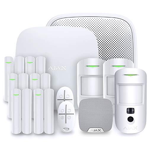 Ajax StarterKit - Alarma para casa, Color Negro, AJAX HUB 2 Kit 5W