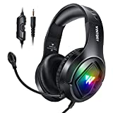 FLAMEER RGB Over Ear Gaming Headset mit Mikrofon für PC Tablet Computer Spieler