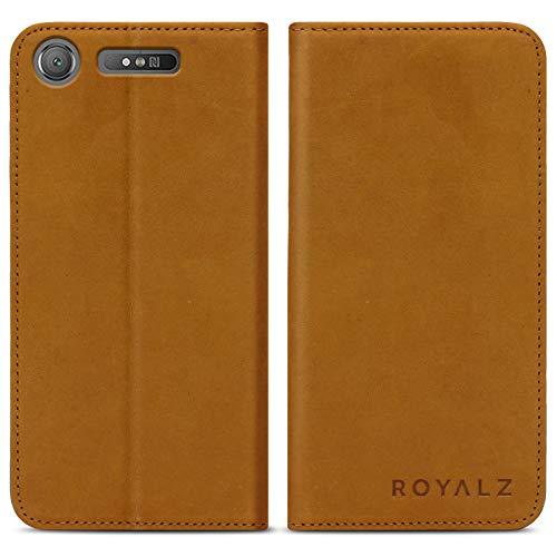eFabrik ROYALZ Tasche für Sony Xperia XZ1 Ledertasche Lederhülle Hülle Book Cover Hülle Tasche Schutzhülle Handyhülle Vintage mit unsichtbaren Magnet Leder, Farbe:Camel Braun