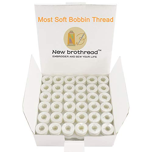 New brothread 144pcs Type L Size White Prewound Bobbin Thread Plastic Side for Particular Embroidery and Sewing Machines - 90 Weight