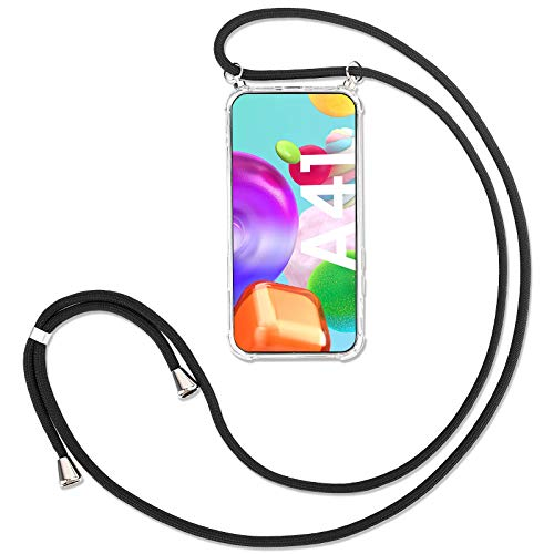 Handykette Kompatibel mit Samsung Galaxy A41 Hülle mit Band Handyhülle für Smartphone zum Umhängen Schutzhülle mit Kordel Transparent Silikon Hülle (Schwarz)