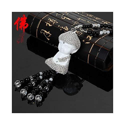 Cerámica Coche del Buda de la estatuilla decoración Ornamento Colgante Budista automática Espejo retrovisor Lucky Artículos de decoración (Color Name : Sliver)