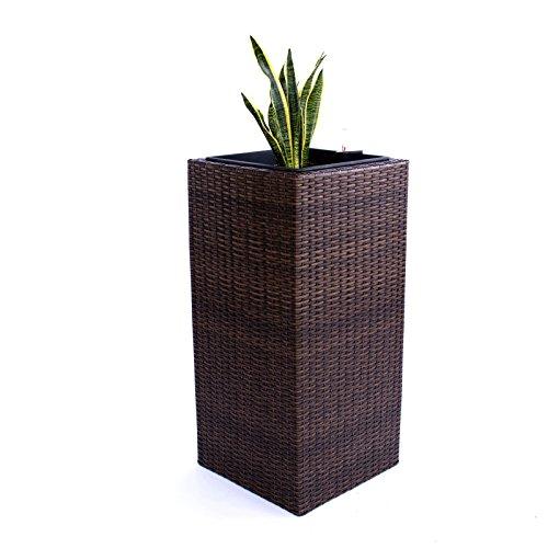 Elegant Einrichten Blumenkübel, Übertopf Polyrattan Säule 30x30x80cm Mocca.