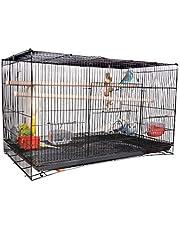 AVI CRAVE Bird cage Large 2.5 feet for Birds,Parrot,Finches,Love Birds, with 2 Perch Stick,Cuttlefish Bone Holder,with Cuttlefish Bone,2 gate to Install breeding Box,Anti Bird Escape Lock (Black)