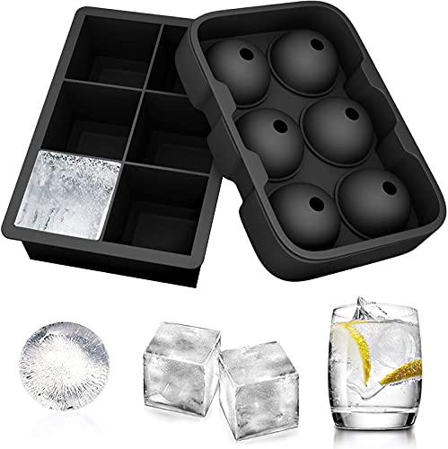 Moule à Boule de Glace, 2 Bacs à Glaçons, Bac à Glaçons en Silicone, Conteneur à Glaçons, Facile à Démouler, Whisky, Cocktail Noir
