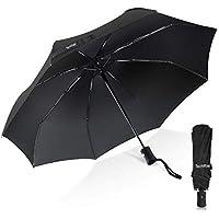 Paraguas, TechRise Paraguas Plegable Pequeño de Viento Plegable Automático Paraguas de Viaje Compacto Un Botón de Apertura y Cierre Automático - Negro