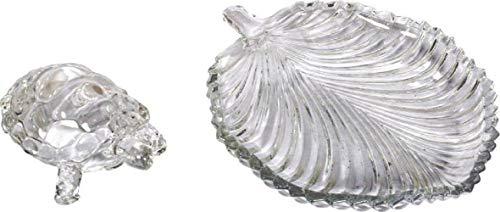 Satre Online e Marketing Crystal Glass Vastu & Feng Shui Turtle, tartaruga com placa de folha para boa sorte e criação de riqueza