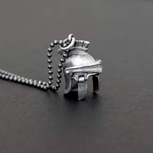 925 collar de plata esterlina para hombres colgante para hombres casco romano colgante collar de cadena galea colgante medieval gladiador joyería regalo para hombre