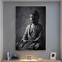 黒の瞑想仏像壁アートキャンバスは壁にキャンバスアートの絵画を印刷します家の装飾のための仏教の写真30x45cmフレームレス
