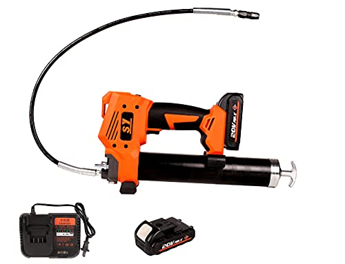 Autolock SY 20V Cordless Electric Grease Gun,10000 PSI Heavy Duty Grease Gun Set with 17 oz Load-31-Inch Spring Flex Hose,High Pressure Lubricating Tool -1 Battery&1 Charger Included