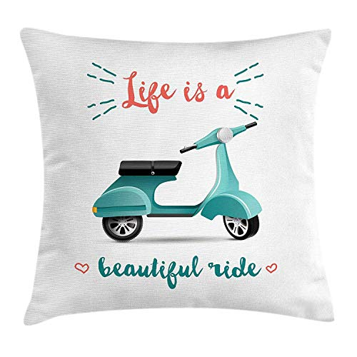 ZMYGH Inspirational Throw Pillow Cushion Cover, Life is a Beautiful Ride Quote a Scooter in Blue Hearts, Decorative Square Accent Pillow Case, 18 X 18 Inches, Teal Black Coral