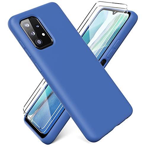 Ikziwreo Funda para Samsung Galaxy A52 4G&5G / A52s 5G + [2 Pack] Protector Pantalla, Carcasa de Silicona Líquida Gel Ultra Suave Funda con tapete de Microfibra Anti-Rasguño - Verde Claro