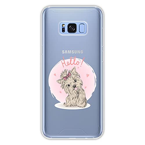 Hapdey Funda rígida para [ Samsung Galaxy S8 Plus - S8 Edge ] diseño [ Hola Perrito ] Carcasa TPU, Transparente