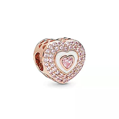 Mujeres Pandora Rose Gold Series Love Pulsera con Cuentas En Forma De Corazón Encanto Femenino Todo-Fósforo DIY Plata De Ley 925 Moda Chica Fabricación De Joyas D8