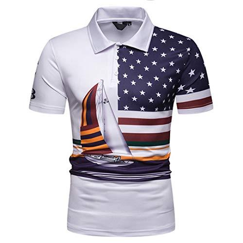 Herren Funktionsshirt Sommer Herren Polo Shirt Stars and Stripes Sailing Print Kurzarm POLOT Shirt, XL