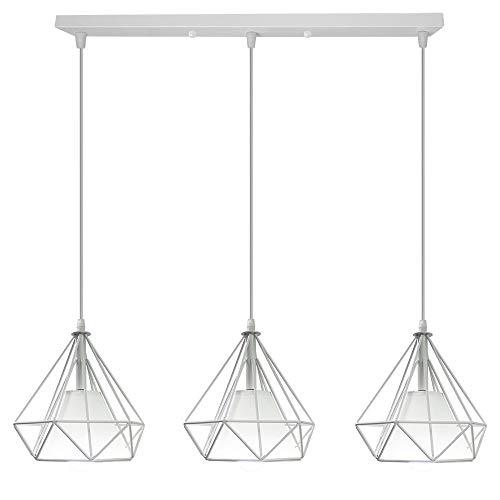 3 Luz Lámpara Colgante Retro Vintage, Estilo Industrial Φ20cm Lámpara de Techo Colgante Iluminación Forma de Diamante (Blanco - 3 Luz)