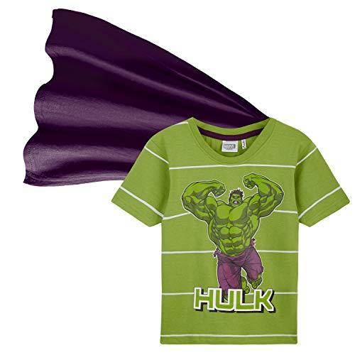 Marvel Camiseta Niño, Ropa Niño 100% Algodon, Camisetas Niño con Capa de Superheroes, Merchandising Oficial Regalos para Niños y Adolescentes 4-14 Años (Verde, 5-6 años)