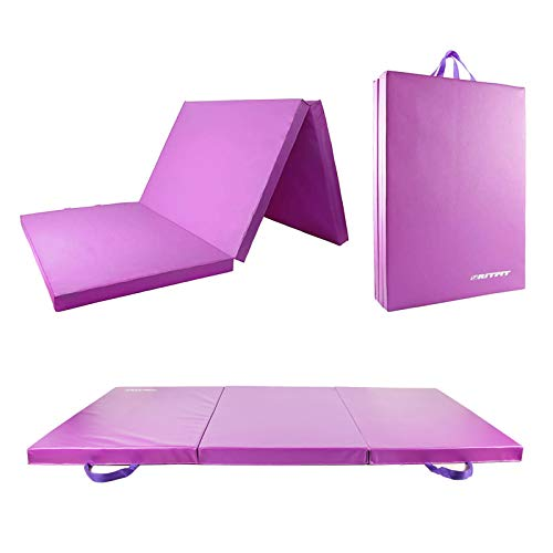 RitFit Upgraded Tri-Fold Folding Thick Exercise Mat 6'x3' with Carrying Handles for MMA, Gymnastics, Stretching, Core Workouts (Purple(3' x 6'))