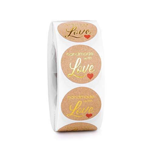 Derayee 500 pegatinas de papel kraft hechas a mano con pegatinas de amor etiquetas autoadhesivas para hornear bolsas de regalo de boda, Día de Acción de Gracias, dorado