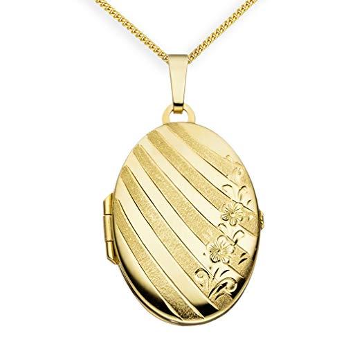 Medaillon Hochglanz verziert oval 333 Gelbgold 8 Karat Gold zum öffnen für Bildereinlage 2 Fotos Amulett Blumenverzierung von Haus der Herzen® + Kette mit Schmuck-Etui