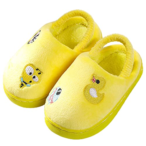 JUSTDOLIFE Kids Fluffy Sandals Cartoon Furry Decorative Lightweight Cute Breathable Winter Slides with Strap Decorative Bedroom Casual House