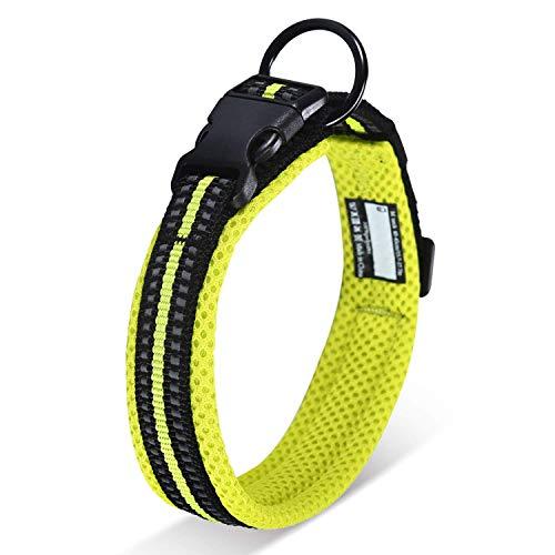 Verstellbares Hundehalsband aus Nylon mit reflektierendem 3M-Streifen, 2,5 cm großes Polster, atmungsaktiv, würgt nicht, reibt nicht, mit Ring