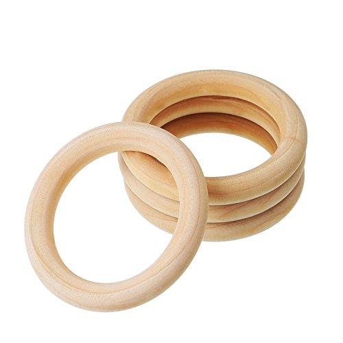 Kentop 5Stk Natürliche Holz Zahnenringe Kinder Baby Holzringe Beißringe Zahnen Ring Unfinished Safe Eco Teether size 70mm