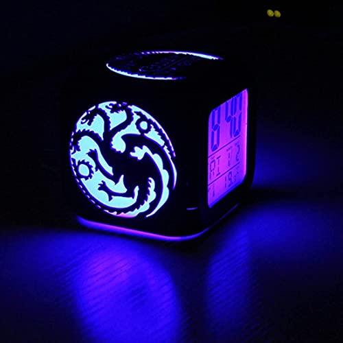 HAOHAO Juego De Tronos Moda Creativa Estéreo 3D Pequeño Reloj Despertador Mute LED Luz De Noche Reloj Electrónico Cabeza De Tigre Logotipo De Dragón - con Carga USB