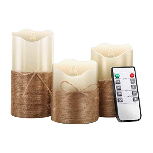Yadianna Flameless Candles, Led Battery Operated Candles Real Wax Flickering Moving Wick Electric Candle Sets with Hemp Rope Remote 24 Hours Timer