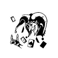 花を張る ジョーカーポーカー頭蓋骨車のステッカーのビニールは、14.5 * 14.1CMデカール (Color : Black)