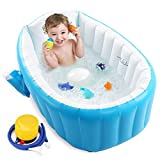 Baby Inflatable Bathtub, Portable Infant Toddler Bathing Tub Non Slip Travel Bathtub Mini Air Swimming Pool Kids Thick Foldable Shower Basin with Air Pump, Blue