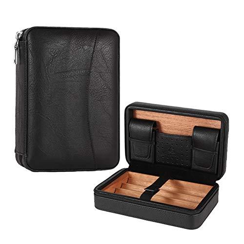 GALINER Leather Travel Humidor Cigar Box Cedar Wood Portable Cigar Case Humidifier Box Fit 4 Cigars