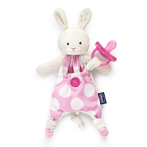 Chicco Pocket Buddies Soft Pacifier Holder-Lovey, Soothing Plush Toy Animal 0M+, Pink Bunny