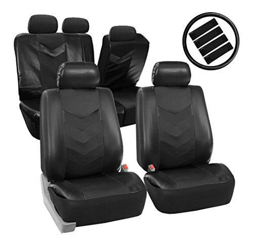 FH GROUP PU021BLACK-COMBO Seat Cover (Premium Synthetic Leather with Accessories Combo Set Airbag…